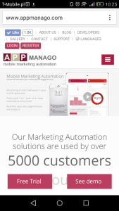 appmanago.com on the mobile screen