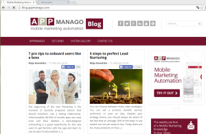 blog.appmanago.com on the laptop screen